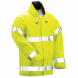 Arc Flash Rain Jckt W/Hd, L, HiVis Lm Ylw