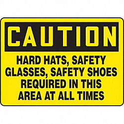 Caution Sign, 10 x 14In, BK/YEL, PLSTC, ENG