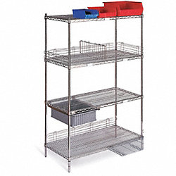 Wire Shelving Cart, 800 lb., 68 In.H