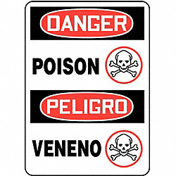 Danger Sign, 14 x 10In, R and BK/WHT, PLSTC