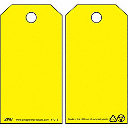 Danger Tag, 5-3/4 x 3 In, Yel, Plstc, PK10