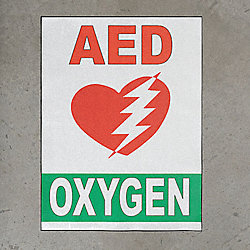 Floor AED Sign, 18 x 24 In.